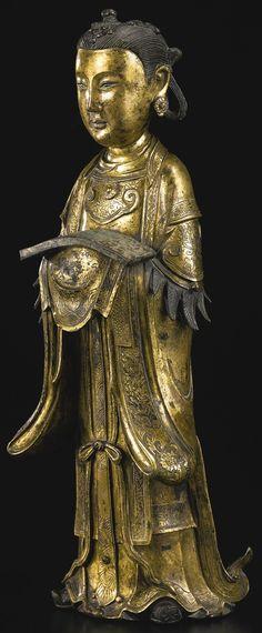 An unusual gilt-bronze figure of Longnu, China, Ming dynasty, 16th-17th century