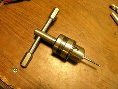 Tap Holder by Captainleeward -- Hand Tap Holder. Made from CRS / 12 L 14 with a drill chuck.one thing good about this tool is the chuck allows the shaft to slip a little bit less chance of breaking the. Metal Working Tools, Old Tools, Lathe Tools, Woodworking Tools, Knife Making Tools, Cheap Power Tools, Machinist Tools, Diy Cnc, Diy Shops