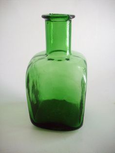 Vintage Green Bottle Square Flower Vase $18. Click the picture to see details/buy. Use coupon code 15PIN for 15% off anything in the shop!