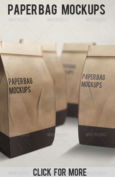 Paper Bag Mockups #GraphicRiver Paperbag mockups for any design you want to show it, full layered, totally customizable, text, color, texture, etc. Features: Fully editable + Full layered Photoshop Version: CS3 or Higher High Resolution 300dpi RGB Colors Created: 22August11 GraphicsFilesIncluded: PhotoshopPSD Layered: Yes MinimumAdobeCSVersion: CS3 PixelDimensions: 1100x1100 Tags: bolsadepapel #coffeebag #mockup #papel #paper #paperbag
