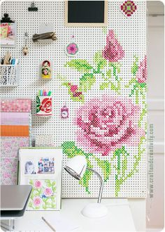 DIY Cross Stitch Painted Pegboard Tutorial