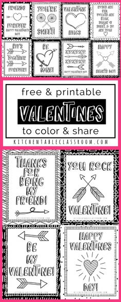 These sweet little printable Valentine cards are begging to brighten your February. Print in black and white and add some colors with markers or crayons. Best of all they are free to print and use in your home or classroom! Free Valentine Cards, Homemade Valentine Cards, Printable Valentines Day Cards, Valentines For Kids, Valentine Ideas, Valentine Box, Valentine Theme, Valentine Wreath, Valentine Crafts