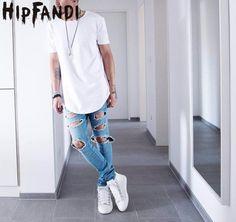 HIPFANDI Summer Men Short Sleeve Extended Hip Hop T shirt Oversized Tyga Kpop Swag Clothes Men's Casual Streetwear Camisetas #Affiliate