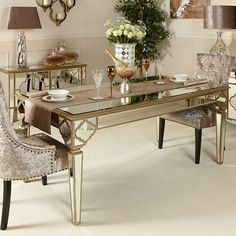 Magnificent mirrored dining table with beautiful gold trim and striking marbled mirror intricate design.Part of the durable and sophisticated Sahara range Mirror Dining Table, Dinning Table Design, Dining Room Table Decor, Dining Tables, Dining Set, Parisian Decor, Living Room Decor On A Budget, Elegant Dining Room, Dining Room Walls