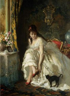 Emile Munier - A Special Moment Lucius Rossi - In the boudoir Pierre Carrier-Belleuse - Young Ballerina holding a Black Cat John White Alexander - The Green Dress Иван Крамской - Девушка с кошкой (Портрет Ольги Крамской) Pierre-Auguste Renoir -… Munier, Black Cat Art, Black Cats, Art Moderne, Classical Art, Fine Art, Woman Painting, Beautiful Paintings, Oeuvre D'art