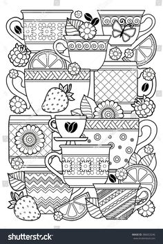 Vector coloring page. Coloring book for adult. Cups of herbal tea and coffee.Flowers and fruits. Vector coloring page. Coloring book for adult. Cups of herbal tea and coffee.Flowers and fruits. Coloring Book Pages, Printable Coloring Pages, Coloring Sheets, Kids Colouring, Digi Stamps, Mandala Art, Flower Doodles, Embroidery Patterns, Crafts