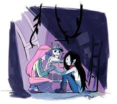 Adveture Time, Marceline And Princess Bubblegum, Cartoon N, Finn The Human, Background Drawing, Jake The Dogs, Lesbian Art, Bubbline, Adventure Time Anime
