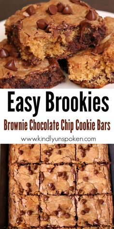Craving cookies and brownies? Try these Easy Chocolate Chip Brookies made with a boxed brownie mix and homemade chocolate chip cookie dough. Desserts To Make, Great Desserts, Best Dessert Recipes, Delicious Desserts, Yummy Food, Crazy Cookies, Homemade Chocolate Chip Cookies, Cookie Brownie Bars, Brookies