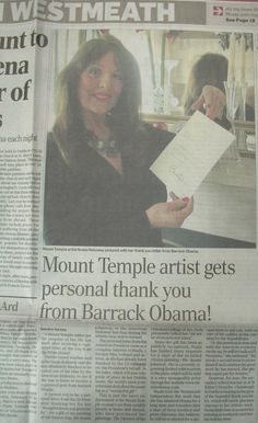 "FROM THE ARCHIVES:  Regional media coverage in the Westmeath Independent when Nuala Holloway received a letter of thanks from US President Barack Obama for her Oil on Canvas painting ""Famine Ship - Jeanie Johnston"". The painting was accepted by the US Embassy in Dublin as a gift for the US President on his first official state visit to Ireland in 2011 #IrishArt #BarackObama #NualaHolloway #Letter #USPresident"