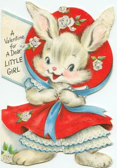 Vintage Birthday Card Bunny Rabbit In Flocked Bonnet&Petticoat Pink Dress My Funny Valentine, Valentine Images, Valentine Greeting Cards, Vintage Valentine Cards, Vintage Greeting Cards, Vintage Holiday, Vintage Postcards, Valentines Greetings, Christmas Greetings