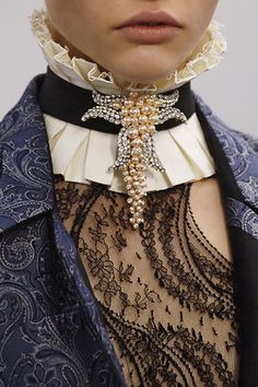 Balenciaga Spring/Summer 2006 18th century inspired neck collar with elaborate beading and pleats.