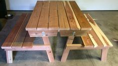 Free, easy, step by step plans to build a picnic table that converts easily to two separate benches. The tabletops rotate to form bench backs. Detailed plans give you step by step instruction to build this multi-use outdoor staple for your deck or patio. Fold Up Picnic Table, Folding Picnic Table Plans, Making A Bench, Build Something, Ana White, You're Awesome, Folded Up, Benches, A Table