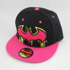 New Black Pink Batman Hiphop Snapback Adjustable Baseball Cap Flat Hat... via Polyvore