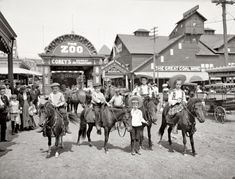 "New York circa 1904. ""The ponies, Coney Island."" 8x10 inch dry plate glass negative, Detroit Publishing Company."