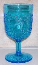 C1880 Beaver Falls PA EAPG Blue Glass Hummingbird Robin Wine Goblet Cup Tumbler