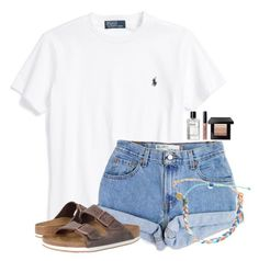"""We have a flat tire so we can't get to school, oh well!!"" by flroasburn ❤ liked on Polyvore featuring Ralph Lauren, Levi's, Birkenstock, Pura Vida and Bobbi Brown Cosmetics"