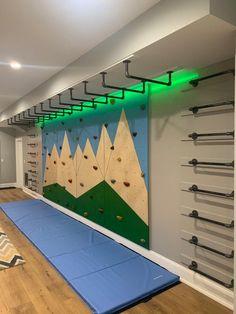 Kids Gym, Kids Indoor Gym, Indoor Jungle Gym, Indoor Playroom, Indoor Playground For Kids, Indoor Monkey Bars, Diy Monkey Bars, Kids Basement, Gym Room At Home