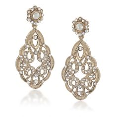 Carolee Antique Lace Large Drop Pierced Earrings