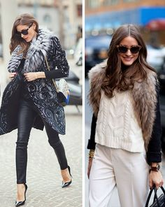 Olivia Palermo. Fur collars.