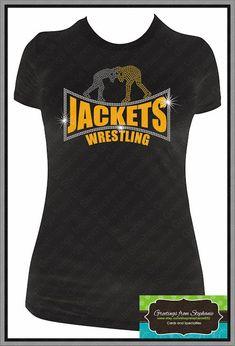 Wrestling Mom, Grandma, Sister, etc. Rhinestone T-shirt
