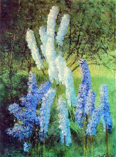 1952 Дельфинии в саду. Х., м. Ужгород - Грабарь Игорь Эммануилович