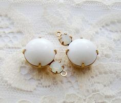 Vintage Glass Round Stones Opaque White & by alyssabethsvintage, $3.45