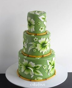 Hawaiian hibiscus cake with bamboo by Rick Reichart, cakelava. Gorgeous Cakes, Pretty Cakes, Amazing Cakes, Wedding Cake Designs, Wedding Cakes, Wedding Ideas, Hibiscus Cake, Hibiscus Flowers, Hawaii Cake
