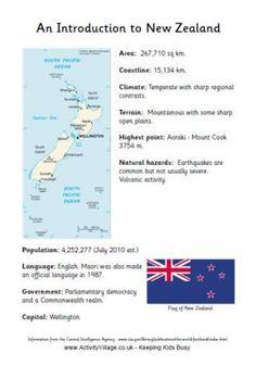 An introduction to New Zealand, NZ fact sheet for display board Map Of New Zealand, New Zealand Flag, New Zealand Travel, Teaching Geography, World Geography, Teaching Kids, Gs World, Classroom Door Signs, Nz History