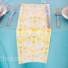 Yellow and gray mismatched napkins // mark davidson photography // http://www.theknot.com/weddings/album/a-vintage-wedding-in-fairview-pa-85719