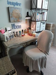 This totally makes an office chair so much better! Very Merry Vintage Syle: Drop Cloth Decorating & Share the Love Link Party #44!