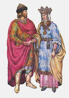 Costumes of Prince and Princess in medieval Russia. #medieval #history #Russian #costume