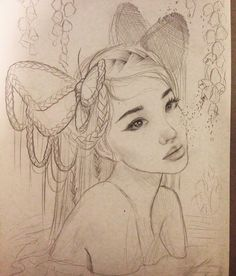 Sketching ideas for a new painting using my gorgeous friend @happydartist as my muse by relmxx