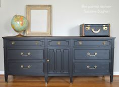 Drexel Triune Dresser in General Finishes Milk Paint, Lamp Black, painted black, painted dresser,