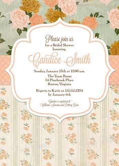 Shabby Chic Bridal Shower Invitations Diy Printable 24 00 Via Etsy