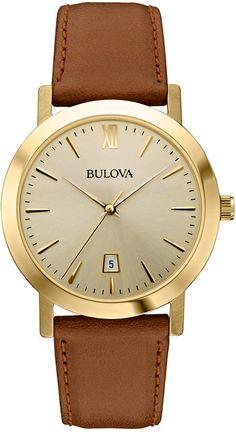 Bulova Unisex Brown Leather Strap Watch 38mm 97B135
