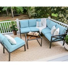 Hampton Bay Riley 3-Piece Metal Outdoor Sectional Set with ... on Riley 3 Piece Sectional Charleston id=27407