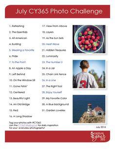 July Photo Challenge List 2014 from Katrina Kennedy Photography Camera, Photography Projects, Photography Business, Nature Photography, Photography Tips, 365 Photo Challenge, Photo Challenges, Photo A Day, Photo 365