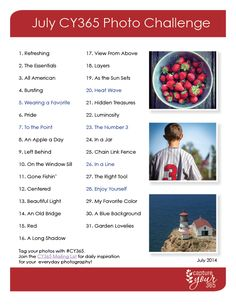 July 365 Photo Challenge List | 2014 | CaptureYour365