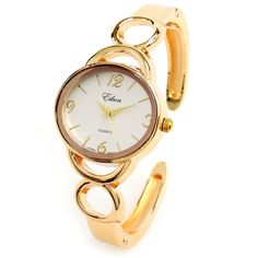 Gold Metal Oval Face Rings Band Women's Bangle Cuff Watch