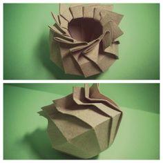 Brown vase origami