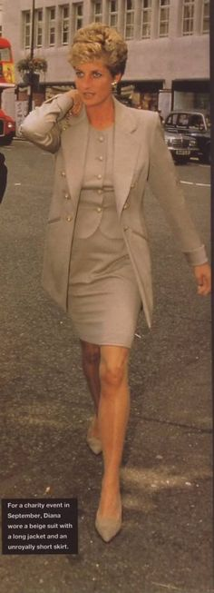 """Princess Diana wearing an """"unroyally short skirt"""", according to picture caption. Once again, Diana was shaking the house of Windsor to it's foundations."""