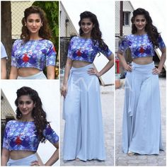 Ileana D'cruz in dervish printed crop top by Nisha Sainani with a pair of palazzo pants from Zara. Indian Crop Tops, Indian Tunic Tops, Diwali Dresses, Diwali Outfits, Crop Top Outfits, Sexy Outfits, Fashion Outfits, Shrug For Dresses, Cute Dresses