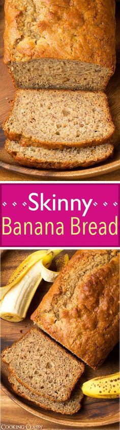 Skinny Banana Bread - uses only 2 Tbsp butter but it's still so moist and delicious! Only 139 cals per slice!