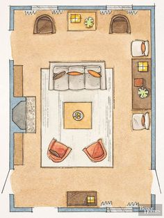 Problem: No free walls, centered fireplace. Solution: Float seating in the center of a room filled with doors and windows. Face chairs and sofa toward each other to encourage conversation. Anchor the conversation grouping with a rug and large coffee table. Frame the space with additional seating and cabinets for storage, positioned around the perimeter of the room along the walls.