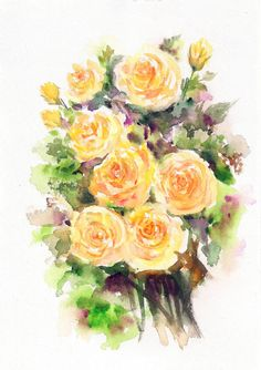 Original Painting, Yellow Roses, Rose Painting, Beautiful Roses Valentine Day Gift, Roses in watercolor, Wall Art, Roses Wall Decor, Yellow by ArtbyAashaa on Etsy
