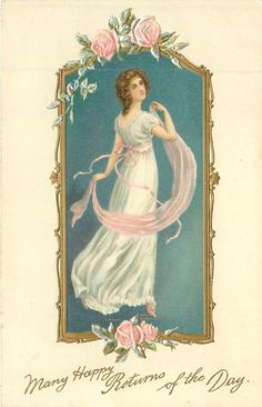 MANY HAPPY RETURNS OF THE DAY girl in white dress with pink throw faces right looking back over her shoulder, roses
