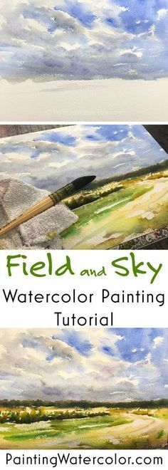 Field and Sky watercolor painting tutorial by Jenn. Field and Sky watercolor painting tutorial by Jennifer Branch Watercolor Clouds, Watercolor Video, Watercolor Painting Techniques, Watercolor Tips, Watercolor Projects, Watercolour Tutorials, Painting Lessons, Watercolor Paintings, Watercolours