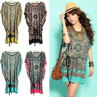 Material: ice silk Pattern: Retro flower print Sleeve style: Batwing-sleeve With one thin belt,and t
