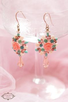 Vintage style rose and turquoise earrings romantic earrings