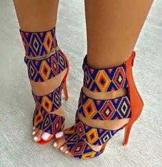 pattern orange blue multicolor heels high heels strappy heels colorful yellow shoes african print african style colorful shoes sandal heels print tribal pattern high heel sandals cute african cultural beaded look. High Heels Stilettos, Strappy Heels, Stiletto Heels, Shoes Heels, Pumps, Sandal Heels, Women's Sandals, Sandals Outfit, Dress Shoes